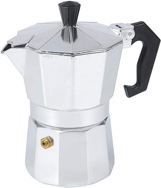 Quahome Moka Stovetop Cafetera de émbolo de 3 tazas, máquina de café espresso para estufa de gas o de cerámica eléctrica, cafetera de café expreso con mango de aluminio, color plateado: Amazon.es: