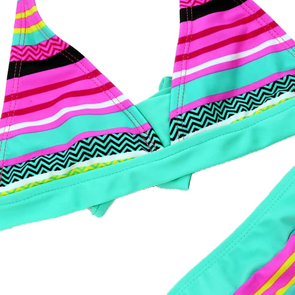 Soly Teche Kids Girls Two Pieces Bikini Set Swimsuit Girls Striped Halter Tops and Shorts