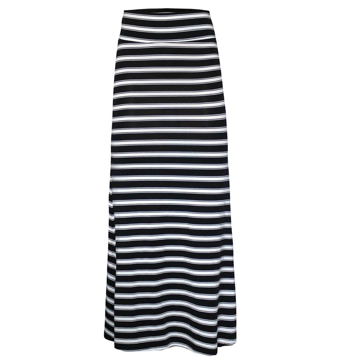 56244093a3 Editha Women Floral Print Maxi Long Skirt High Elastic Waist Slim Full Skirt  Summer Foldover Skirts Black Stripes M at Amazon Women's Clothing store:
