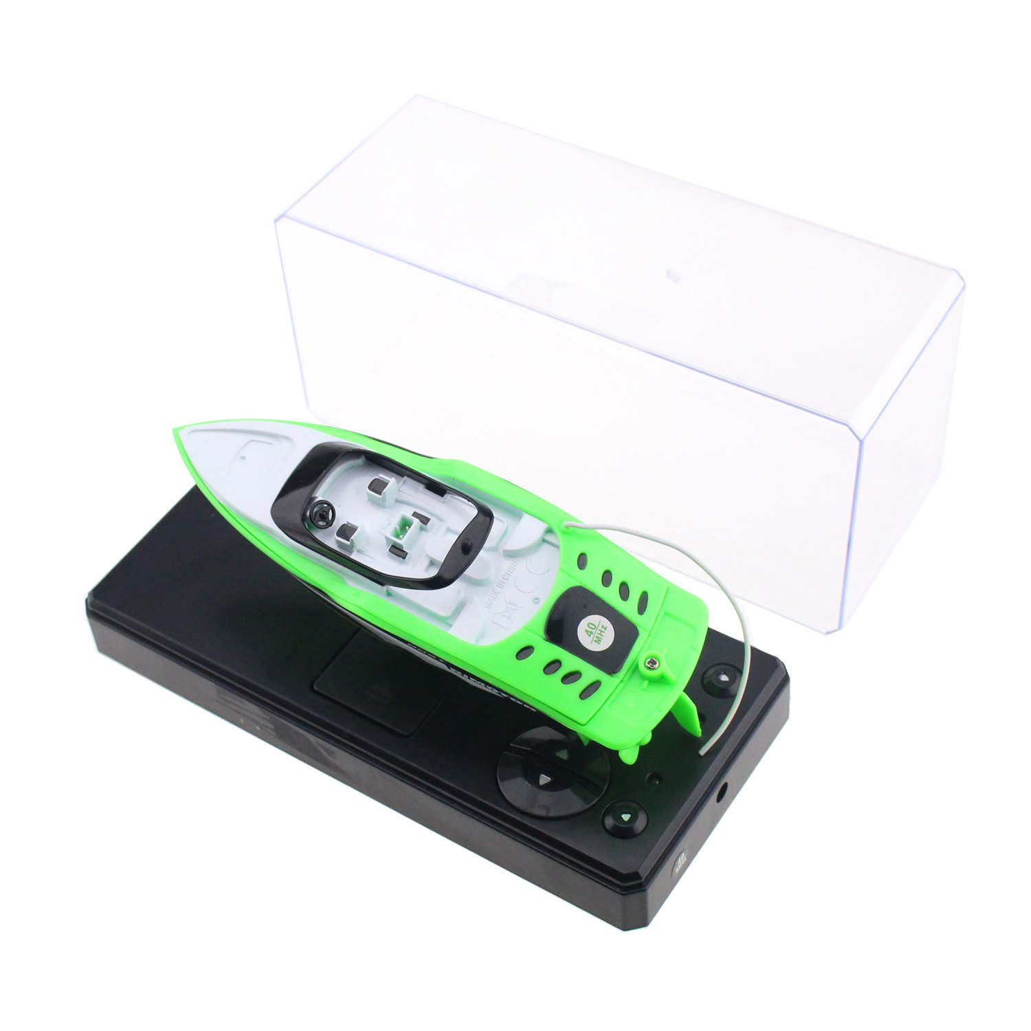 Tipmant 4 CH Mini RC Boat Ship Radio Remote Control Speedboat Speed Racing Boat Water Toy Kids Gift (Green)
