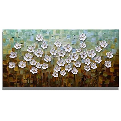 Ordinaire Asdam Art 100% Hand Painted 3D Paintings On Canvas Ready To Hang White  Daisy Flower
