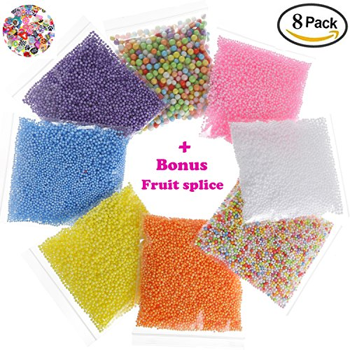 Styrofoam Foam Balls - 8 Pack Colorful Foam Beads for Slime 0.08-0.35 Inch Plus Bonus Fruit Slice - Fit for Kid's Creative Arts Crafts Supplies, Slime Supplies, Wedding and Party Decorations