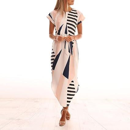 Overdose A Rayas Mujer ImpresióN Lady Beach Vestido Bohemio Verano Maxi Vestido Talla Grande La Altura del Tobillo: Amazon.es: Ropa y accesorios