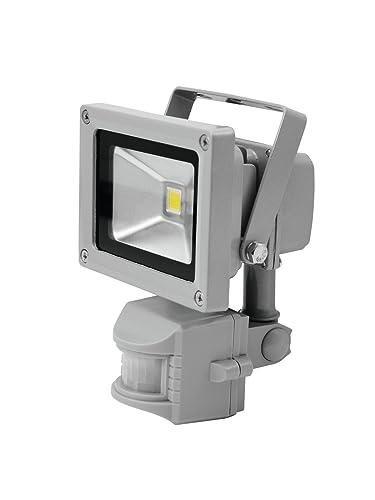 Set de 2 x Foco LED con sensor de movimiento SURTUR 230V / 10W, 1 LED de 10W, IP44, 120 ° (WFL), 3000K - Pack de focos para exteriores / Faros con sensor ...
