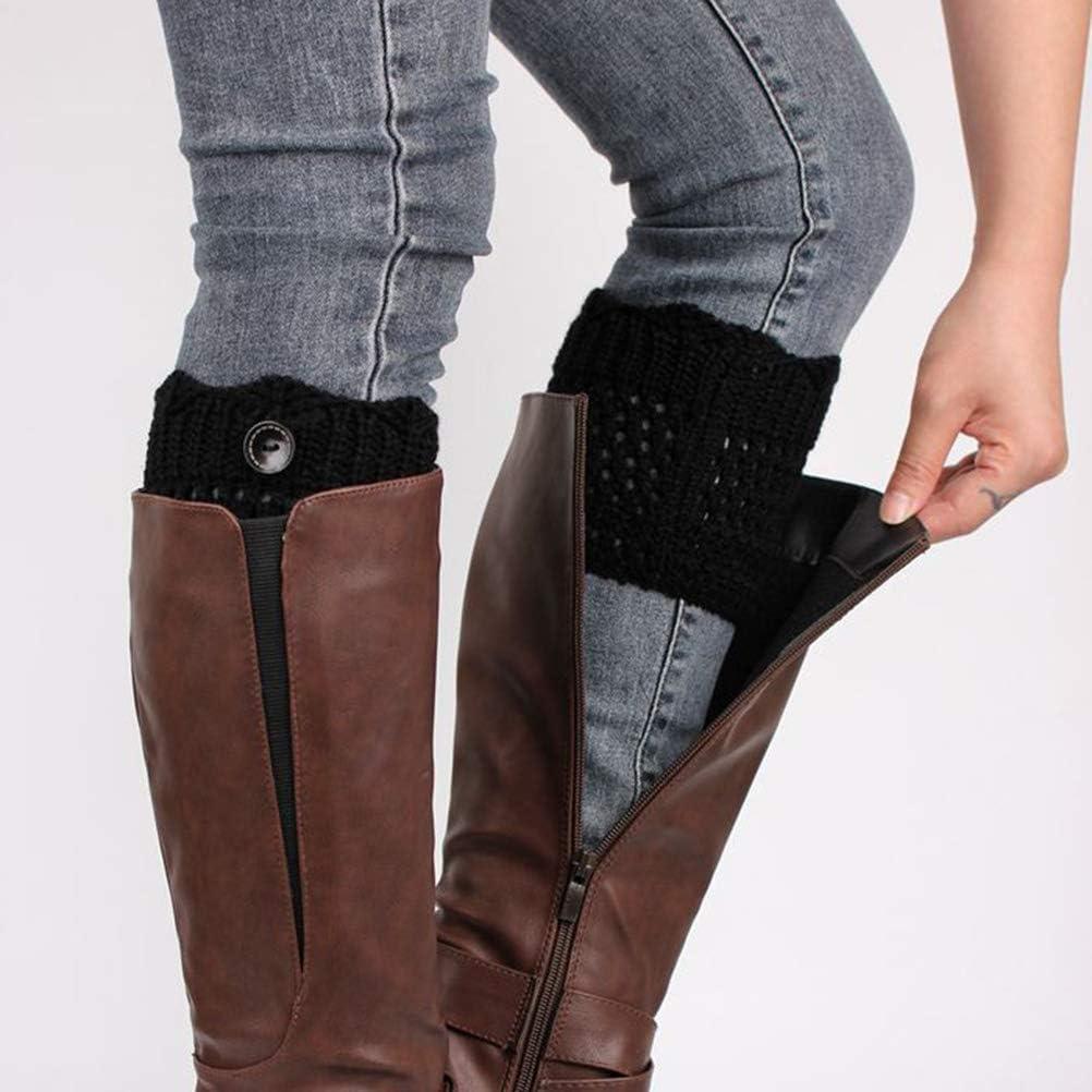 LUOEM 1 Pair Short Button Socks Leg Warmers Socks Knit Boots Set for Women Female Free Size Black