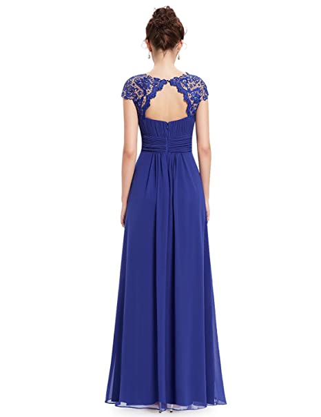 Ever Pretty Womens Lacey Empire Waist Floor Length Prom Dress 18 UK Sapphire Blue EP09993SB14: Amazon.co.uk: Clothing