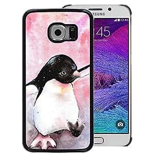 A-type Arte & diseño plástico duro Fundas Cover Cubre Hard Case Cover para Samsung Galaxy S6 EDGE (NOT S6) (Cute Penguin Watercolor Baby Pink)