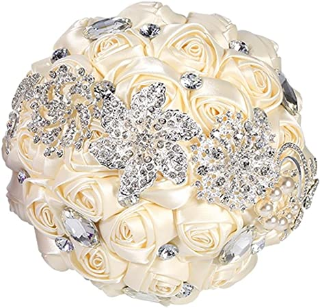 Fiori Da Sposa.Topincn Romantico Bouquet Di Fiori Da Sposa Bouquet Di Perline Di