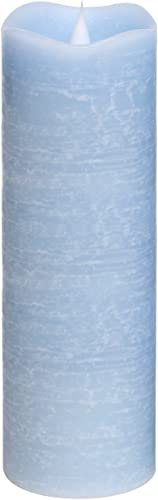 SIMPLUX Flameless Pillar Flickering Dancing Flame Battery Operated Electric LED Moving Wick,Real Wax Candle with Timer for Parties Home Decoration,Blue, 3x9inches