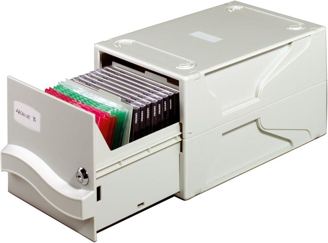 Cassettiera per Archiviare 26 CD//DVD con Custodia o 136 Dischi da 3.5 Multimedia Box I 5 Divisori Durable 525610 195 x 165 x 325 mm Grigio