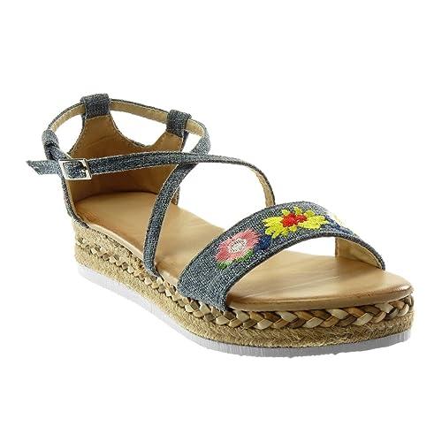 Angkorly - Zapatillas Moda Sandalias Alpargatas Plataforma Correa de Tobillo Mujer Bordado Flores Correas Cruzadas Plataforma 3.5 CM: Amazon.es: Zapatos y ...