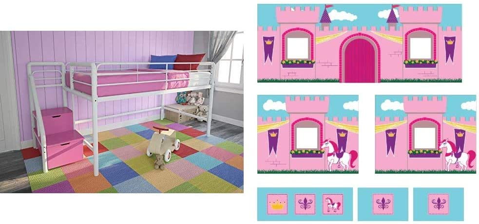 DHP Junior Twin Metal Loft Bed with Storage Steps, Space-Saving Solution, Multifunctional, White with Pink Steps & Princess Castle Design Curtain Set for Junior Loft Bed, Kids Furniture, Pink