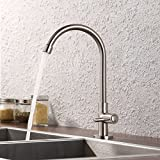 KES Lead-Free Kitchen Sink Faucet For Cold Water Only Single Handle Bar Modern Replacement Tap, Brushed Nickel, K8001A1LF-2