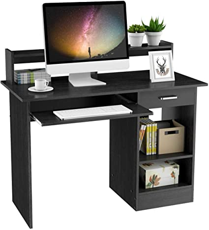 Yaheetech Black Computer Desk With Drawers Storage Shelf Keyboard Tray Home Office Laptop Desktop Table For Small Spaces Amazon Co Uk Kitchen Home