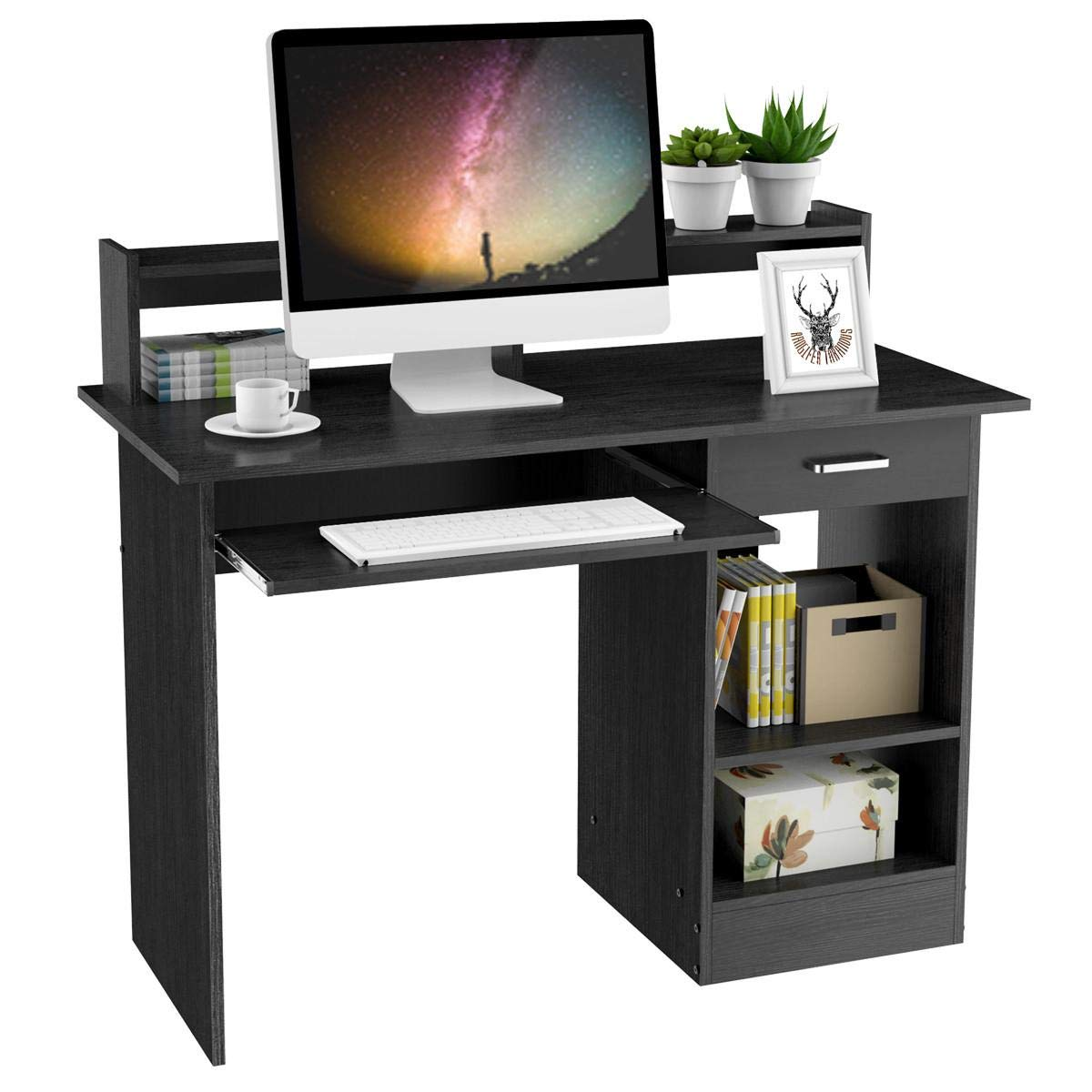 Yaheetech Black Computer Desk With Drawers Storage Shelf Keyboard Tray Home Office Laptop Desktop Table For Small Spaces Buy Online In Belarus At Belarus Desertcart Com Productid 124369986