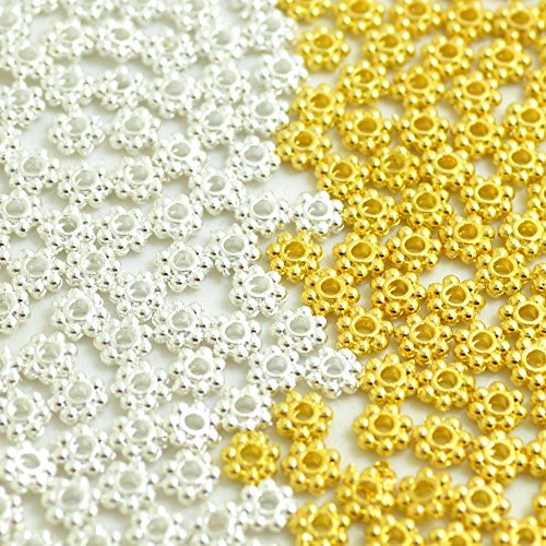 (BronaGrand 500pcs Metal Daisy Spacer Beads 4mm for DIY Jewelry Making(Mix 250pcs Gold + 250pcs Silver))
