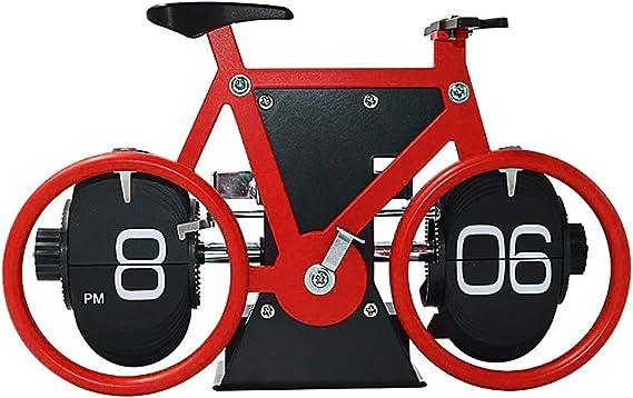 Flip reloj automático moto, bicicletas retro reloj despertador digital, Vuelta de páginas automático del reloj, tirón mudo mecánica del reloj a la decoración de hogar y oficina H12cm (Color : Red) :