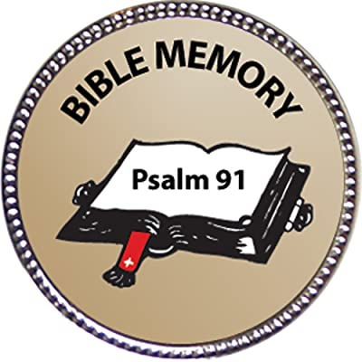 Keepsake Awards Psalm 91 Bible Memory Award, 1 inch Dia Silver Pin Bible Memory Achievements Collection: Toys & Games