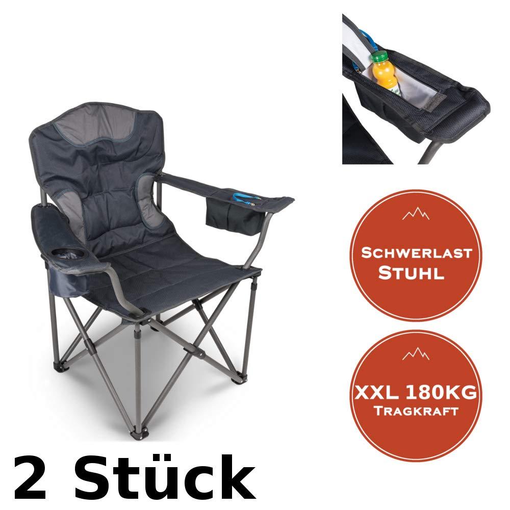 2er Set XXL Campingstuhl Starke Tragkraft bis 180KG mit Getränkehalter + Isolierfach
