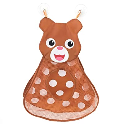 Aisheny Bath Toy Organizer Animal Shape,Opening for Easy Pickup,Baby and Toddlers Bathtub Mesh Bag Premium Quality with Suction Cup Hooks 14x20: Toys & Games