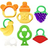Bassion Baby Teething Toys - BPA Free Natural Organic Freezer Safe Teether Set for 3 to 12 Months Babies, Infants, Toddlers(7 Pack)