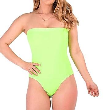 fdfc2a4d83 Rimi Hanger Womens Ladies Sleeveless Boob Tube Plain Bandeau Stretchy Bodysuit  Leotard Top Neon Green Small