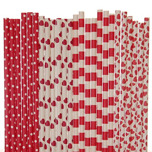 Valentines Day Paper Straw Mix - Red, White - Striped, Heart, Polka Dot (25)
