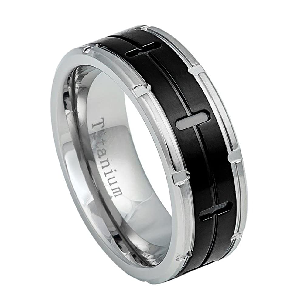 8mm Titanium Two Tone Grooved Black IP Center and Notched Sides Wedding Band Ring for Men Or Ladies