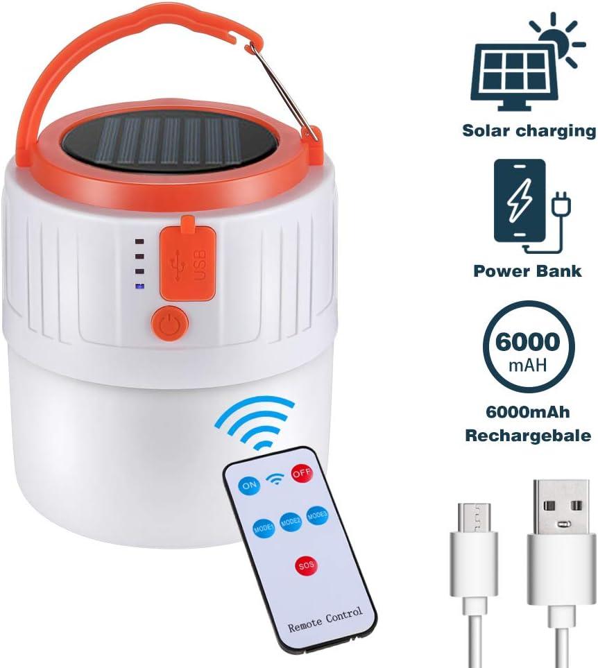 GAWAR Lanterne de Camping Lampe Torche Camping Solaire Lanterne LED Rechargeable Lanterne LED Portable Lampe de Camping 6000 mAh avec C/âble USB pour Camping,Travaux,Chasse,Tente P/êche,Randonn/ée