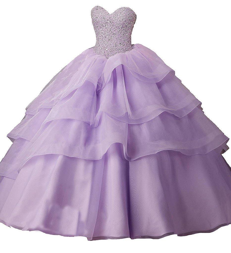 Purple PuTao Women's Vestido De Evening Pageant Beaded Party Quinceanera Dresses