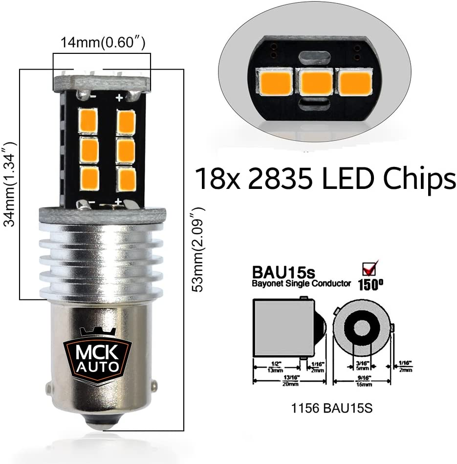 Transform Your Ride PY21W 581 BAU15S LED Canbus Bulbs Signal Indicator Amber Orange Front Rear Very Bright and Without Errors Compatible with A1 A3 8P1 F10 F20 F30 EB6R1 MCK Auto
