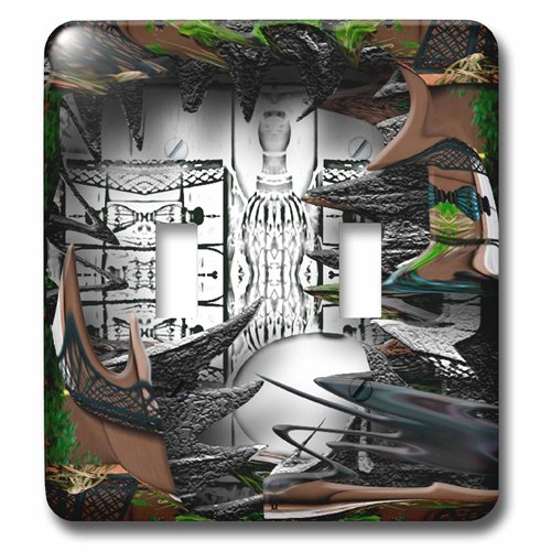 3dRose LSP_47553_2 A Deep Shadow Box of Black and White Surrounded by Wispy Greens Leaves and Brown Fence Toggle Switch (Leaf Wispy)