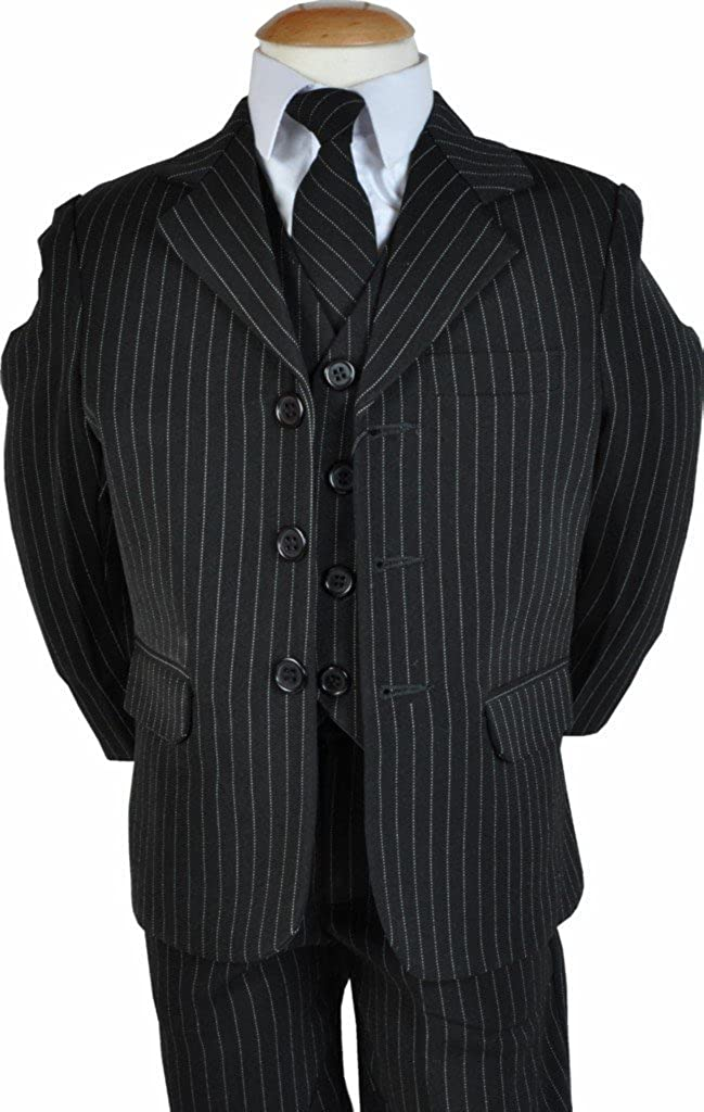 Vivaki 5-Piece Black Pinstripe Suit