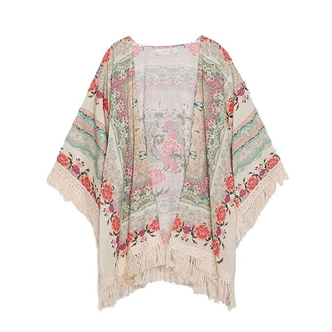Elegante Moda Para Mujer Exótico Floral Estolas Blusa Borlas Abrigo Abrigo Fiesta Estilo Kimono Cardigan Prendas De Abrigo Niña: Amazon.es: Ropa y ...