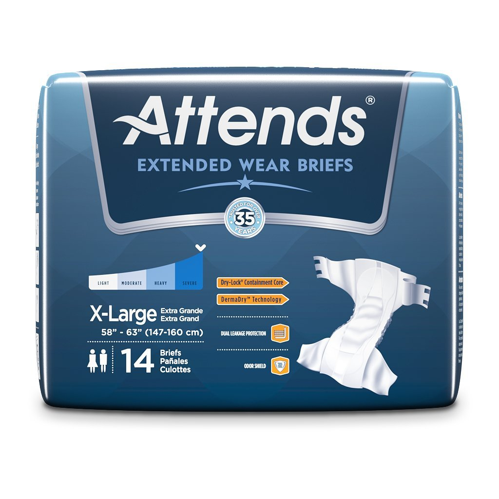 Amazon.com: Attends Extended Wear Briefs with Dry-Lock Containment Core for Adult Incontinence Care, X-Large, Unisex (56 Count): Health & Personal Care