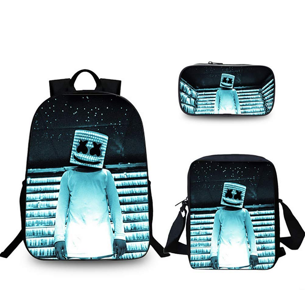3 3D DJ Cotton Candy Marshmello Prints Student School Bag Set Boy Girl Primary Kids Backpack Waterproof Lightweight school Book Bag with Pen Case Lunch Bag