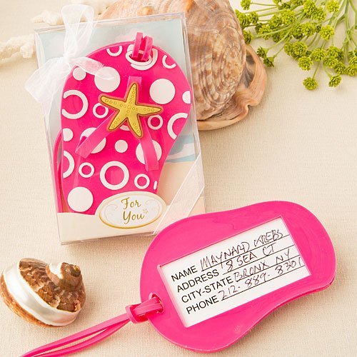 Pink Beach Themed Flip Flop Luggage Tags (Set of 2) by Fashioncraft (Image #1)