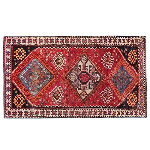 5.5' x 4.5' Red color diamond design hand knotted rug, black border, wool area rug. Code: R0101413, Vintage Floor Rug, Oriental Area Rug, Traditional Fancy Carpet