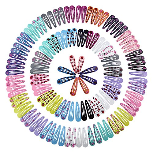 QtGirl Snap Hair Clips 72 126pcs 2 Metal Hair Clip Barrettes For Girls With Patterns In Pairs