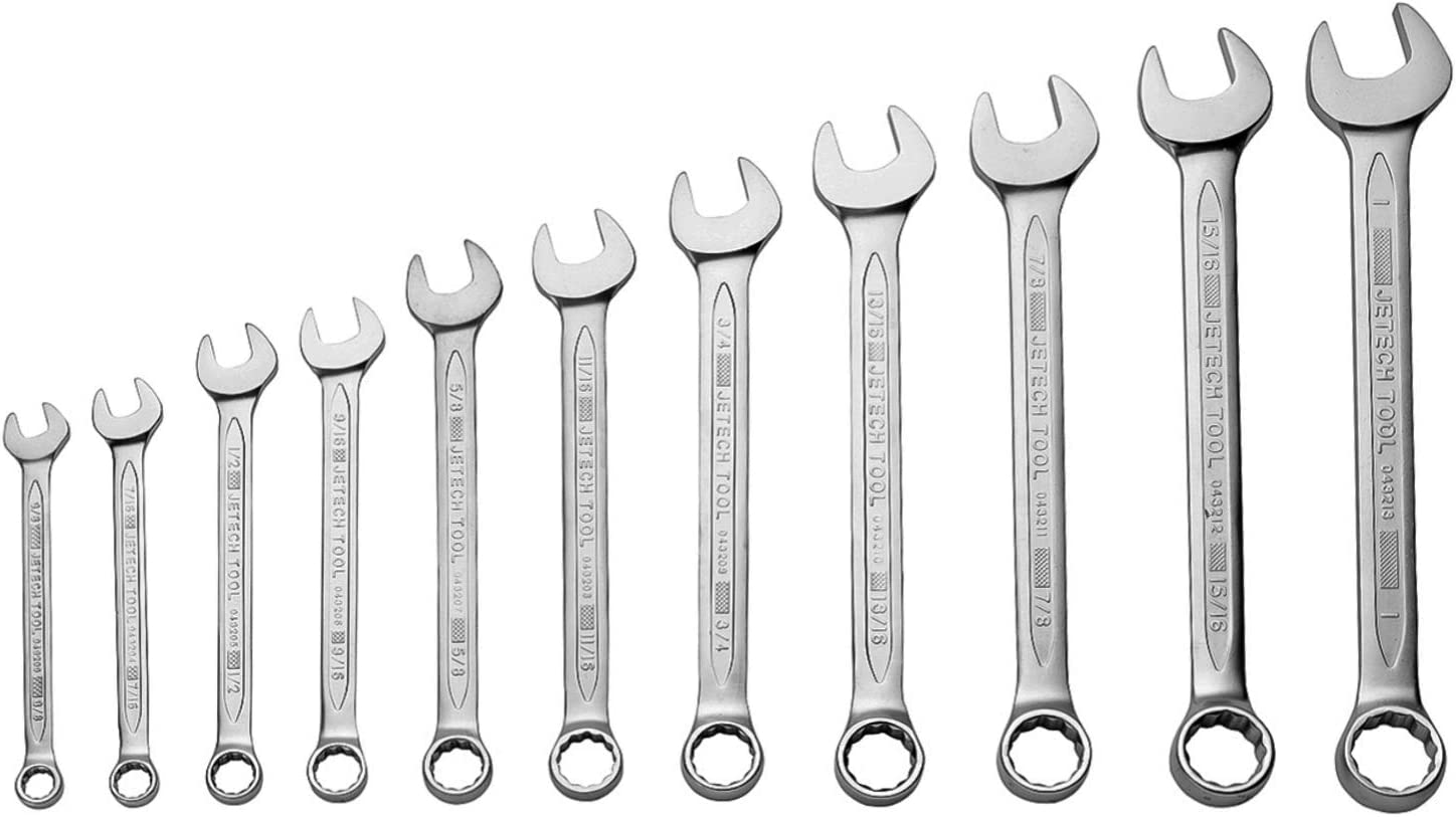 Jetech 1//2 Inch Combination Wrench 12 Pack Durable SAE Inch Cr-V Steel High Strength Spanner in Sand Blasted Finish