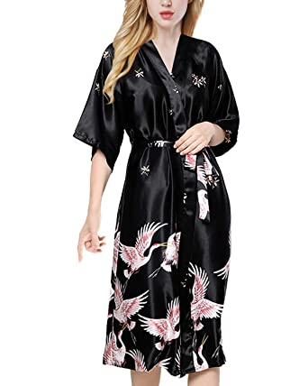 7d4bb1b0c2 ETAOLINE Women s Long Kimono Robe Silk Dressing Gown Satin Nightwear  Pyjamas Bathrobe UK 8-16  Amazon.co.uk  Clothing