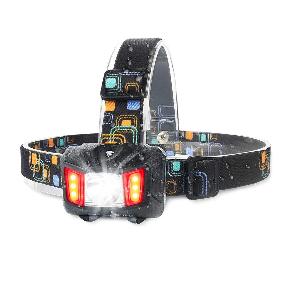 Touch Sensitive LED Headlight Kit Waterproof - Moobibear 2017 Newest Design 4 Modes Helmet Light, 200lm Super Bright Headlamp with Red Light, Heavy-Duty Lightweight Head Touch