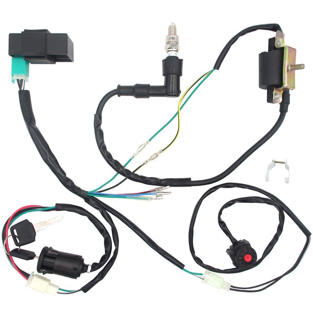 royitay engine wire harness wiring loom cdi ignition coil spark plug rebuild kit for 50cc 70cc 90cc 110cc 125cc stator cdi coil atv quad bike go kart Jeep Wiring