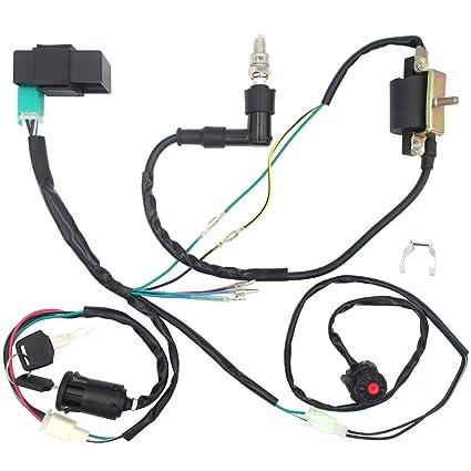 amazon com: royitay engine wire harness wiring loom cdi ignition coil spark  plug rebuild kit for 50cc 70cc 90cc 110cc 125cc stator cdi coil atv quad  bike go