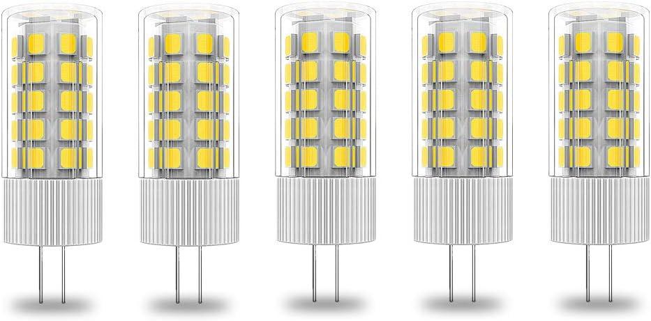 Bombillas LED G4, 5 W, 400 lm, 12 V CA/CC, bombillas halógenas de 40 W, no parpadean, no regulable, 5 unidades