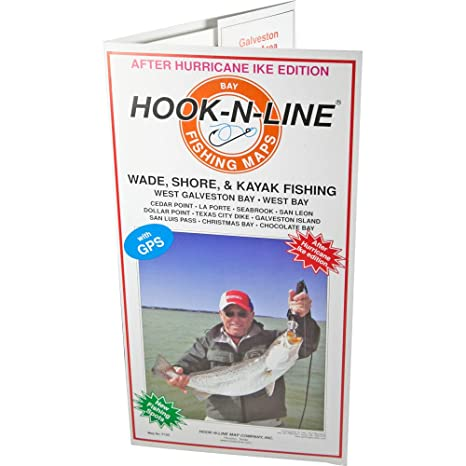 Hook And Line Maps Amazon.: Hook N Line Map Galveston Water Proof Wade Fishing