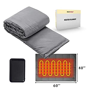 """Battery Powered Heated Blanket throw Super Fast Heating Electric Blanket Outdoor Activity Body Warming USB Heated Throw Blanket Travel Blanket Office Blanket Outdoor Blanket With Battery, 60""""x40"""""""