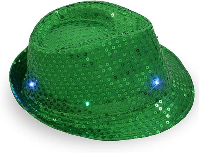 LINYANMY LED Jazz Berretto di Luce Paillettes Cappello Magico Berretto da Ballo Jazz per concerti Performance Party Masquerade