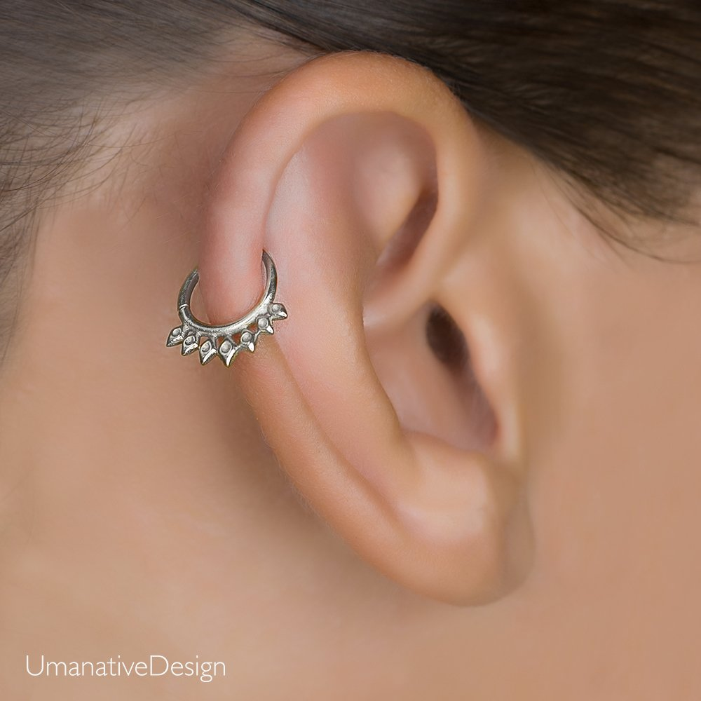 Silver Cartilage Earring, Tribal Indian Hoop Ring Piercing fits also Helix, Tragus, Rook, Spikes Shaped, 18g, Handmade Body Jewelry