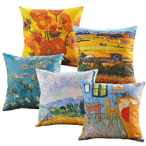sykting Pillow Shams Couch Pillow Covers Set of 5 Celebrity Pictures Series Cushion Covers 18 x 18 Square Cotton Linen